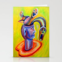 inner demons Stationery Cards featuring Inner Demons by Michael Anthony Alvarez