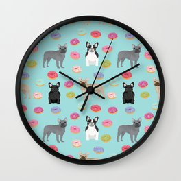 French Bulldog donuts cute dog breed must have gifts for frenchie owners Wall Clock
