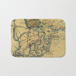 Vintage Charleston Harbor Battle Map (1865) Bath Mat