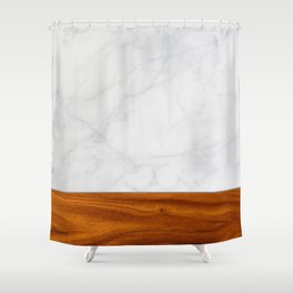 Marble and Wood 2 Shower Curtain