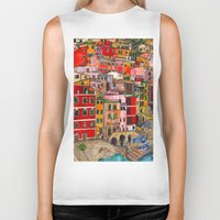 italy Biker Tanks featuring Manarola, Italy  by Marcella Wylie