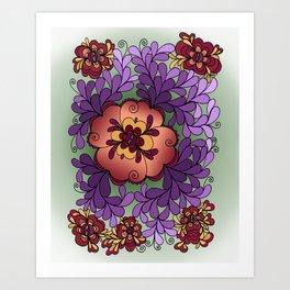 Pomegranate Poppies Art Print