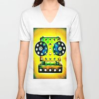 dj V-neck T-shirts featuring DJ by Yukska