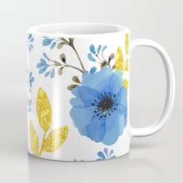 Blue flowers with golden leaves Coffee Mug