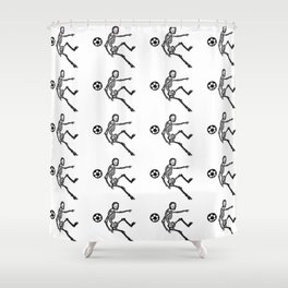 Skeleton playing football Shower Curtain