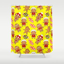 Cute pretty hygge yellow pattern. Happy gingerbread men and sweet xmas caramel chocolate candy Shower Curtain