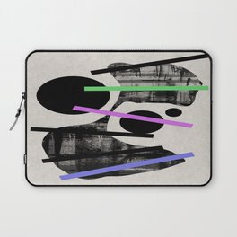 PENSIVE - Eclectic blend of geometric shapes, pastel colours, and black and white textures Laptop Sleeve