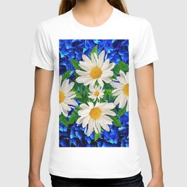 WHITE DAISY FLOWERS ON BLUE ART T-shirt