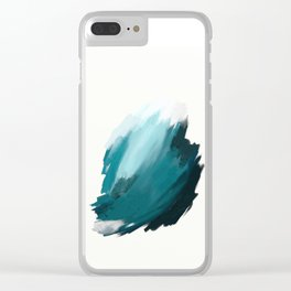 Deep Dark Aqua and White Abstract Painting Home Decor Wall Art by Jules Tillman. Clear iPhone Case