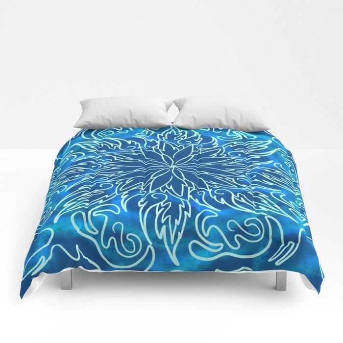 Aqua Flowe Comforters