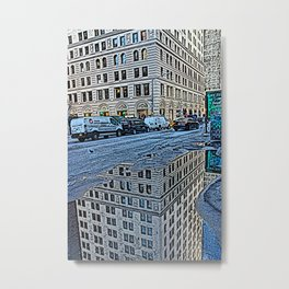 Puddle in the city Metal Print