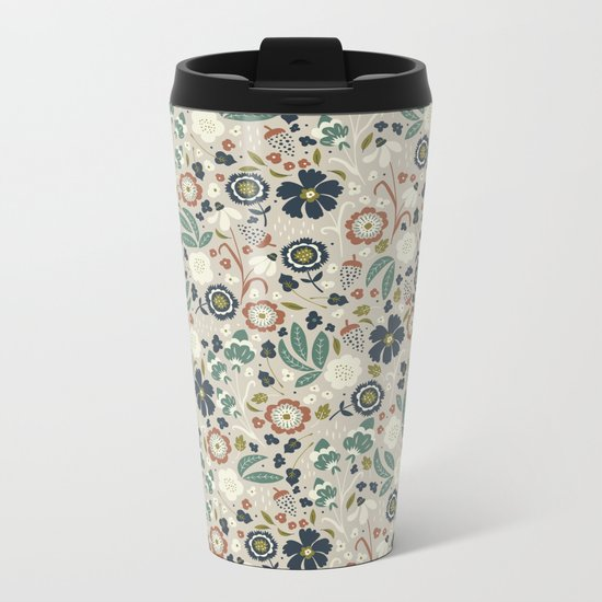 Flourishing Florals (Light-Green) Metal Travel Mug