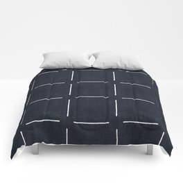 Block Print Simple Squares in Navy Comforters