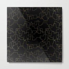 Elegant abstract black faux gold geometrical Metal Print