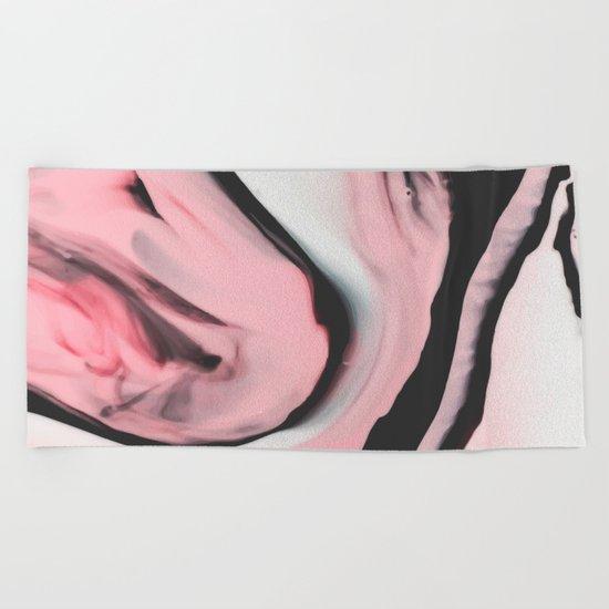 Modern pink marble and black Beach Towel