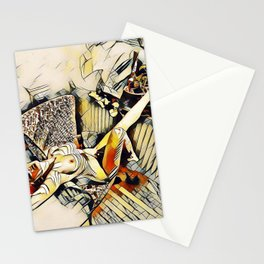 4406s-JG Sensual Nude in Chair By Window Erotic Kandinsky Style Art Stationery Cards