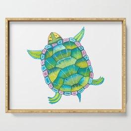 Tropical sea turtle - turquoise aqua blue Serving Tray