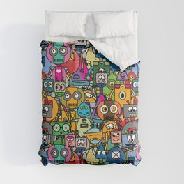 All robots - cute and colorful pattern Comforters