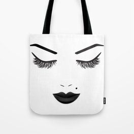 Black Lips Beauty Face Tote Bag