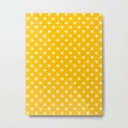 Cream Yellow on Amber Orange Stars Metal Print