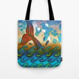 Beach Whale Tail Abstract Tote Bag