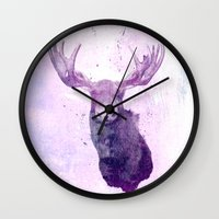 bruce springsteen Wall Clocks featuring Moose Springsteen by Lucy Evans