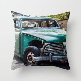 Smashed vintage car Throw Pillow