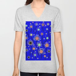 ABSTRACT STARRY LIGHTS ON BRILLIANT BLUE Unisex V-Neck