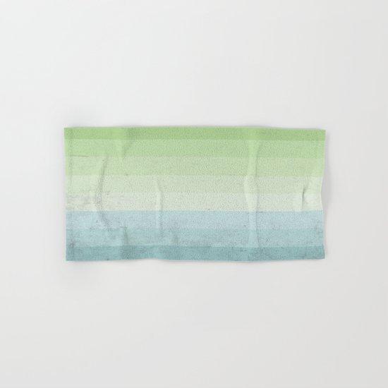 Fresh Cyan Lime Stripes Hand & Bath Towel