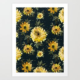 Sunflower Sparkle - black Art Print