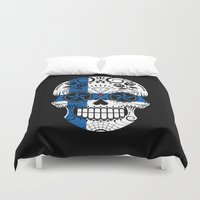 finland Duvet Covers featuring Sugar Skull with Roses and Flag of Finland by Jeff Bartels