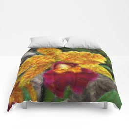 Smeary Painted Orchid Comforters