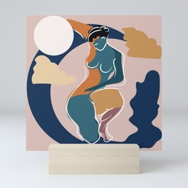 Dreamer girl portrait with moon in orange and blue colors Mini Art Print