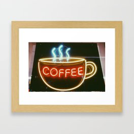 Coffee Shops and Neon Lights Framed Art Print