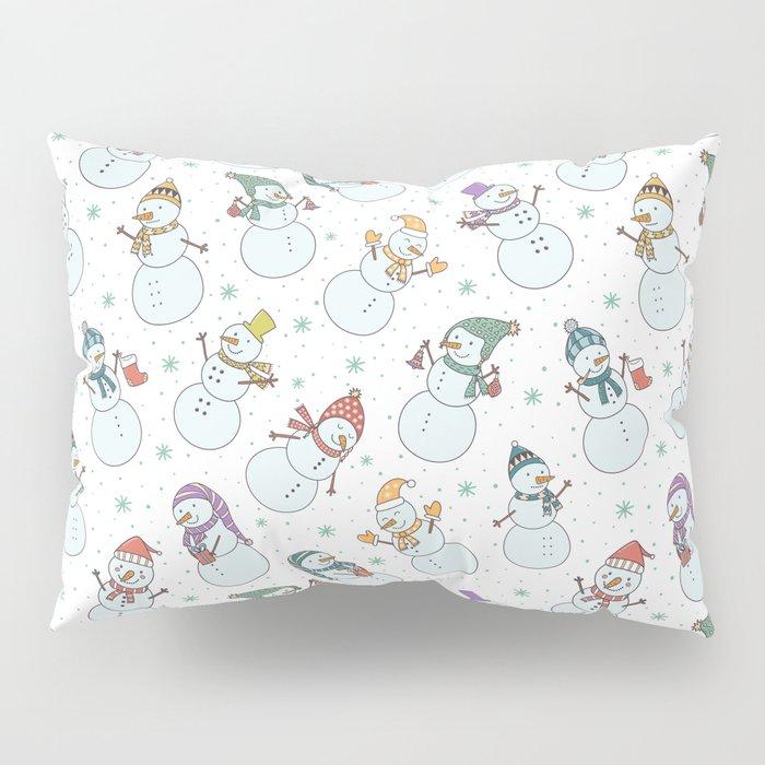 Cute pastel blue red snowman Christmas pattern Pillow Sham