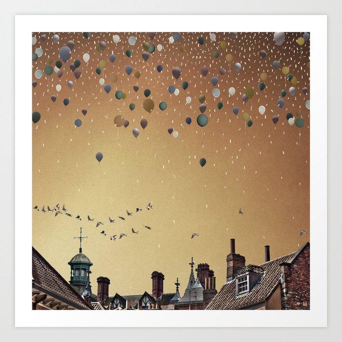 Innumerable wandering balloons Art Print