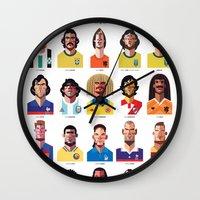 grey Wall Clocks featuring Playmakers by Daniel Nyari