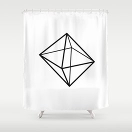 Graphic Geometric Shape Black Shower Curtain