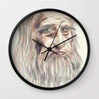 da vinci Wall Clocks featuring Leonardo da Vinci Colorful by André Minored