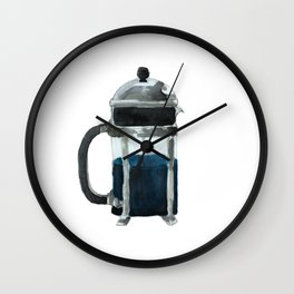 French Press - Blue Wall Clock