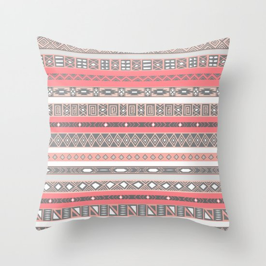 Aztec Print Peach Rose Salmon Grey Throw Pillow By