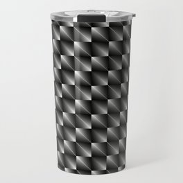 Monochrome woven pattern of paired metal squares and dark rhombs with volumetric triangles. Travel Mug