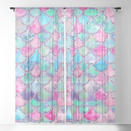Colorful Pink and Blue Watercolor Trendy Glitter Mermaid Scales  Sheer Curtain