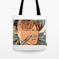 fear and loathing Tote Bags featuring fear and loathing in las vegas by Megoer