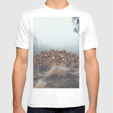 Firewood MEDIUM Mens Fitted Tee White