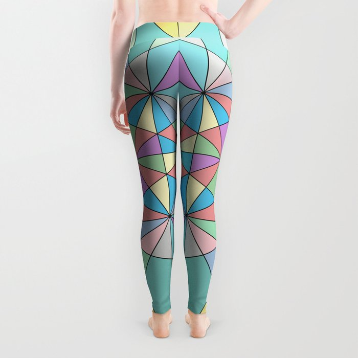 Colorful Pastel Mosaic Triangle Star Leggings