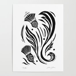 Thistle - Black and White Poster