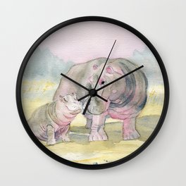 Colorful Mom and Baby Hippo Wall Clock