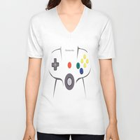 nintendo V-neck T-shirts featuring Nintendo 64 by Bradley Bailey