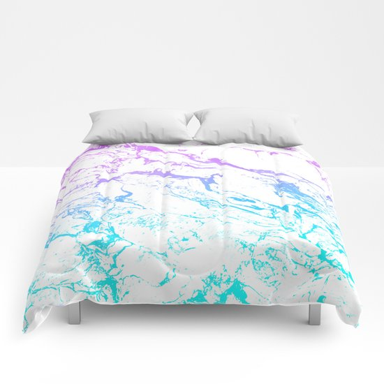 White Marble Purple Blue Turquoise Ombre Watercolor